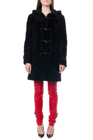Saint Laurent Shearling Hooded Duffle Coat