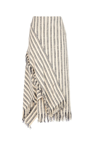 3.1 Phillip Lim Striped Asymmetric Fringe Detail Skirt