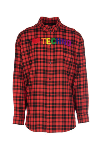 Balenciaga I Love Techno Checkered Shirt