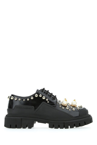 Dolce & Gabbana Faux Pearl Embellished Lace Up Shoes