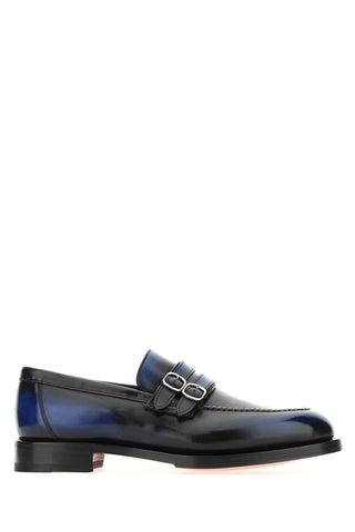 Santoni Buckled Two-Tone Loafers