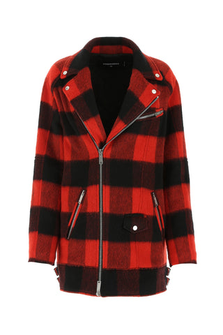 Dsquared2 Checkered Off-Centre Front Zip Jacket