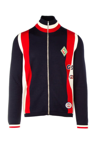 Gucci Panelled Logo Patch Bomber Jacket