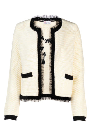 Red Valentino Embroidered Lace Trim Knitted Cardigan
