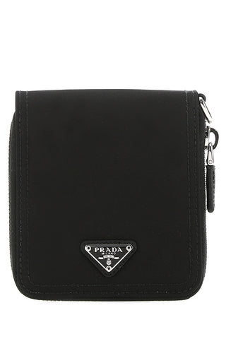 Prada Logo Plaque Zip-Around Wallet