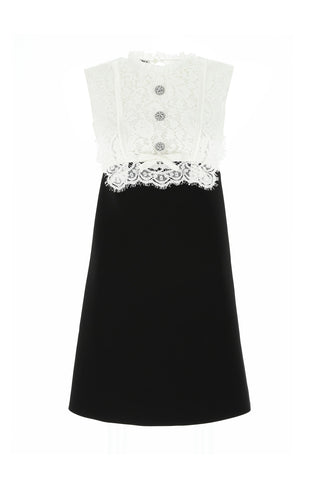 Miu Miu Embellished Lace Detail Mini Dress