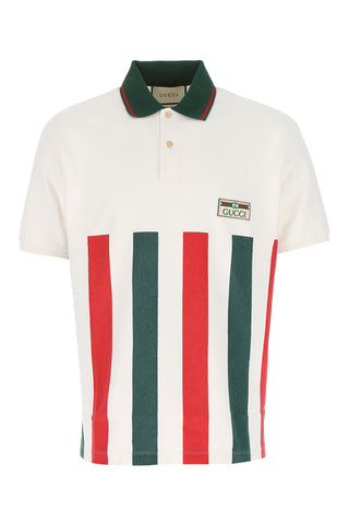 Gucci Striped Logo Jacquard Label Polo Shirt