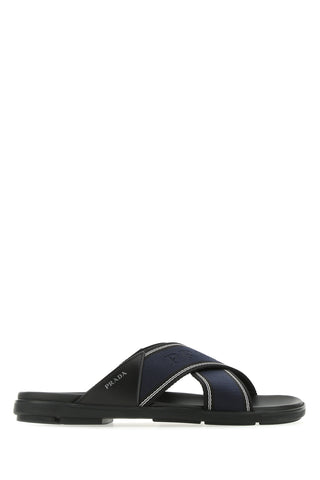 Prada Logo Crossover Sandals