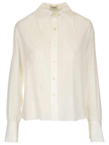 Saint Laurent Pointed-Collar Blouse