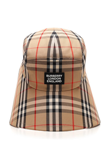 Burberry Logo Appliqué Vintage Check Bonnet Cap