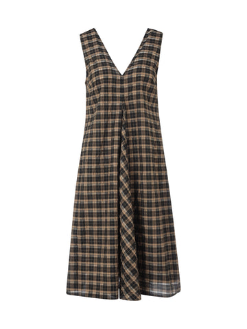 Ganni Seersucker V-Neck Check Midi Dress