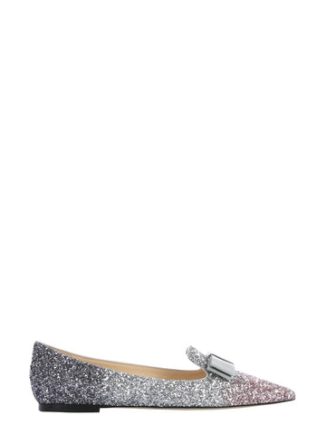 Jimmy Choo Gala Glittered Ballerina Flat Shoes