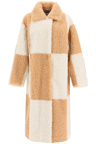 Stand Studio Nikki Checked Faux Fur Coat