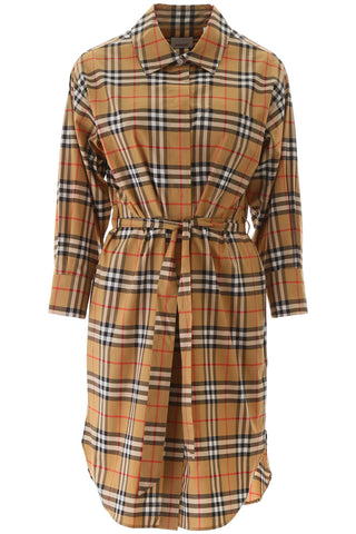 Burberry Vintage Check Belted Shirt Dress