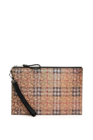 Burberry Logo Monogram Zipped Clutch Bag