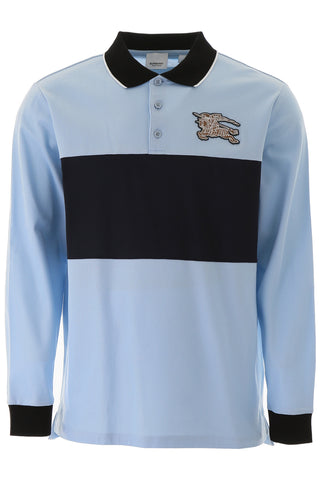 Burberry Long-Sleeve Logo Graphic Piqué Polo Shirt