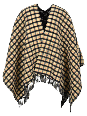 Gucci Checked Fringed Hem Poncho
