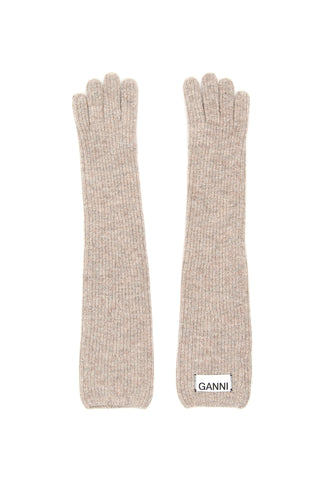 Ganni Logo Label Ribbed Gloves