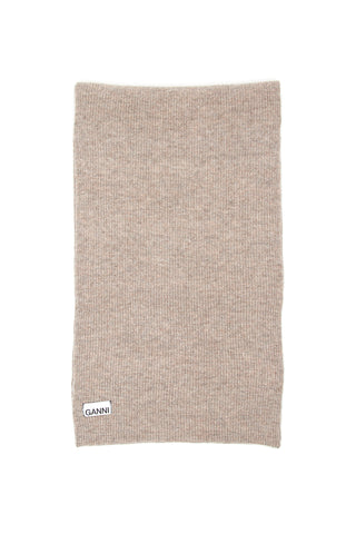 Ganni Logo Label Ribbed Scarf