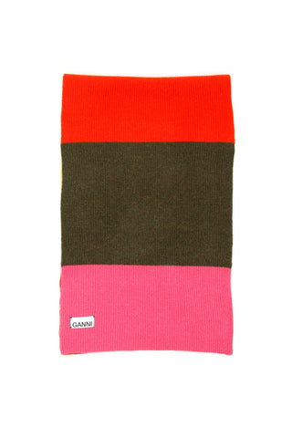 Ganni Logo Label Colour Block Scarf