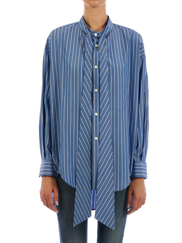 Balenciaga Stripped Asymmetric Hem Shirt