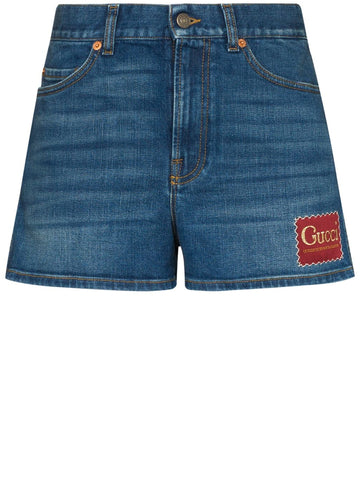 Gucci Logo Patch Denim Shorts
