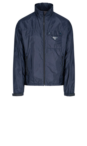 Prada Logo Plaque Zipped Jacket