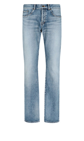 Saint Laurent Faded Straight-Leg Jeans