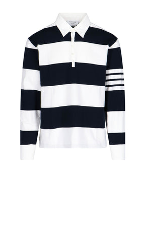 Thom Browne 4-Bar Striped Long-Sleeve Polo Shirt