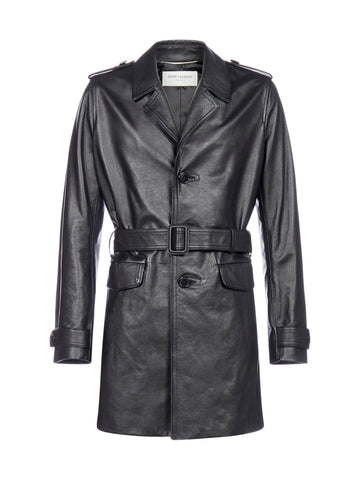 Saint Laurent Single-Breasted Leather Coat