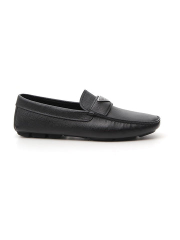 Prada Triangle Logo Penny Loafers