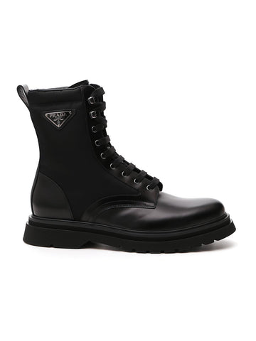 Prada Triangle Logo Lace-Up Boots