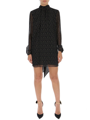 Saint Laurent Star Printed High-Neck Dress