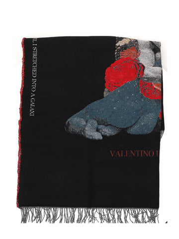 Valentino Intarsia Knitted Scarf