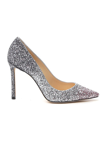 Jimmy Choo Romy 100 Glitter Embellished Stiletto Pumps