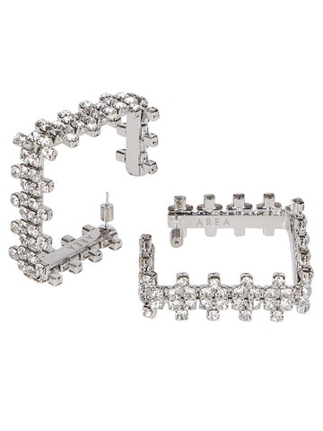 Area Crystal Embellished Square Hoop Earrings