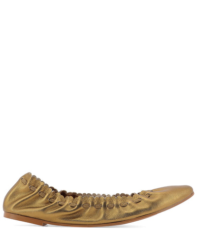 See by Chloé Gathered Metallic Ballerina Flats