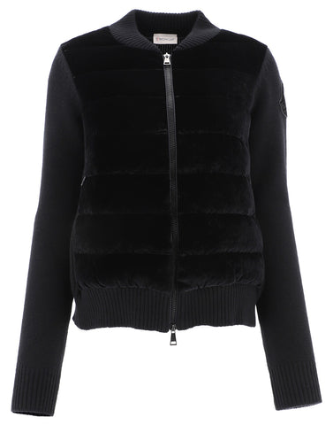 Moncler Velvet Panel Zipped Jacket