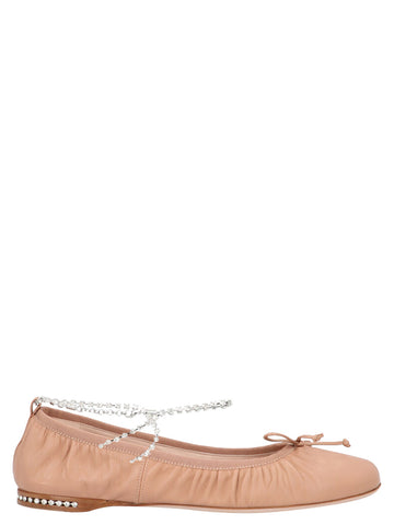 Miu Miu Embellished Ballerina Flat Shoes