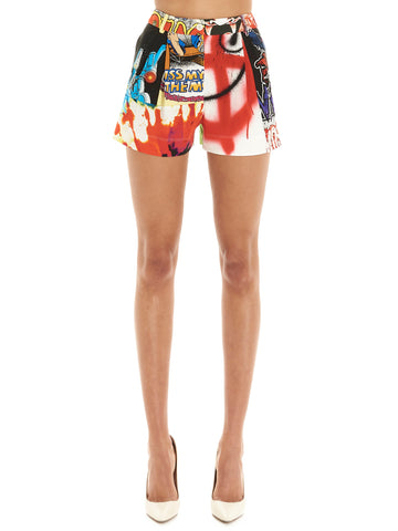 Moschino Graphic Printed Patchwork Mini Shorts
