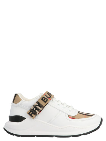 Burberry Logo Strap Checked Detail Sneakers