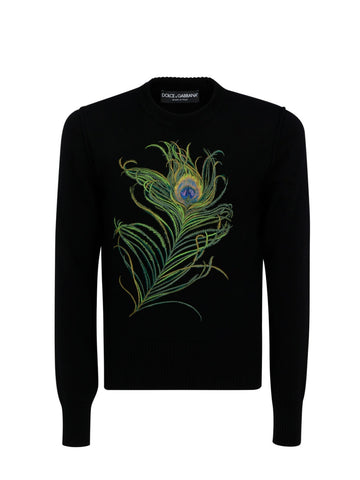 Dolce & Gabbana Peacock Feather Knit Sweater