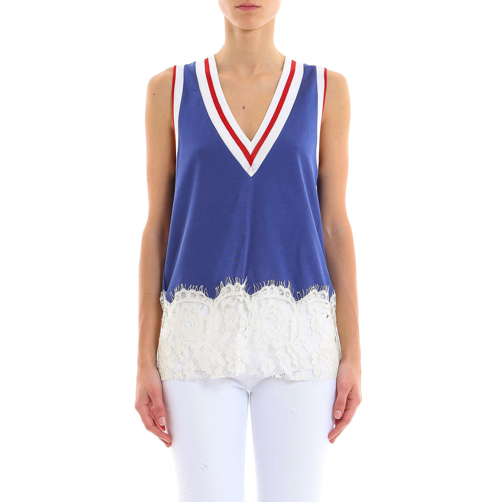 Mm6 Maison Margiela Lace Detail Tank Top