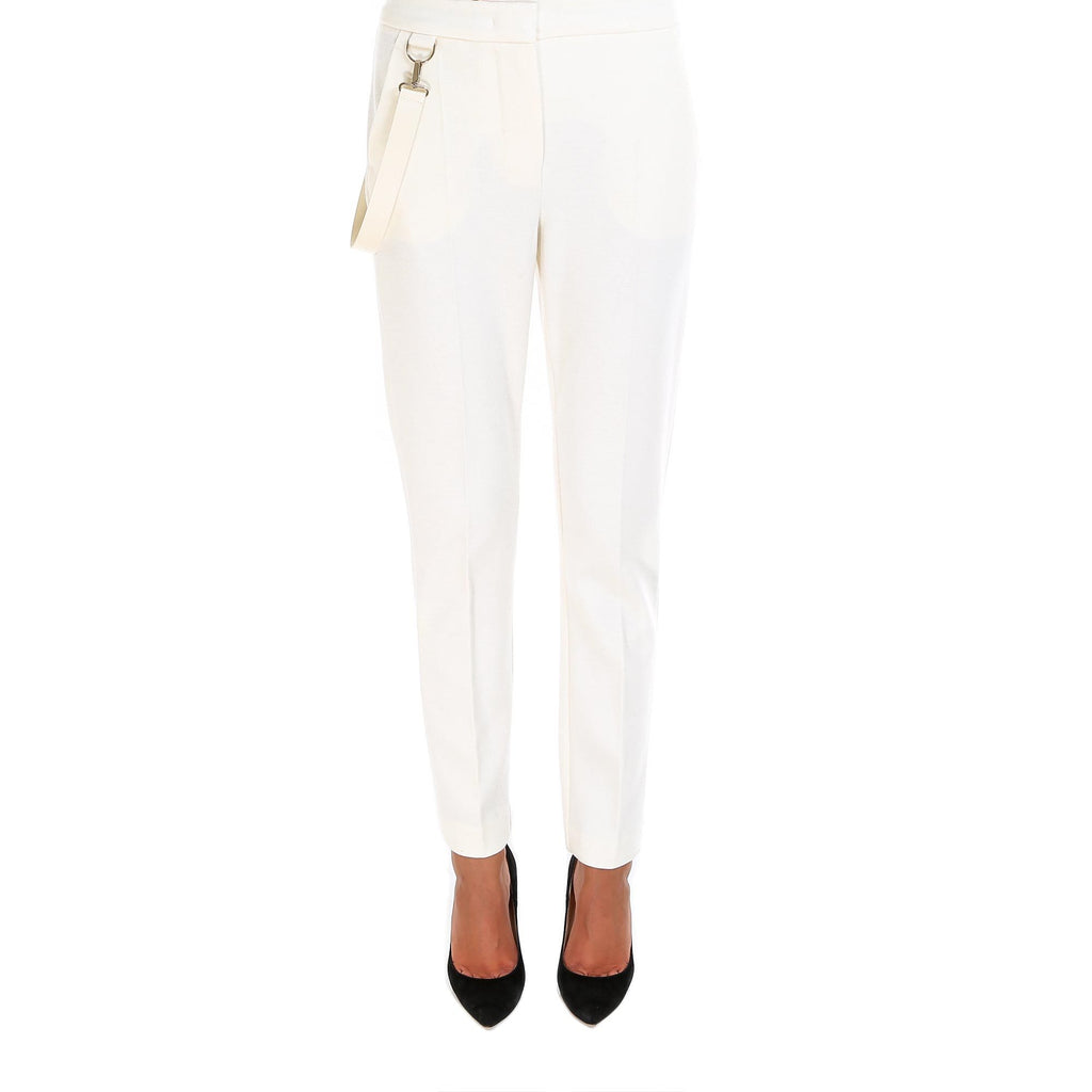 Max Mara Leather Strap Detail Wool Trousers