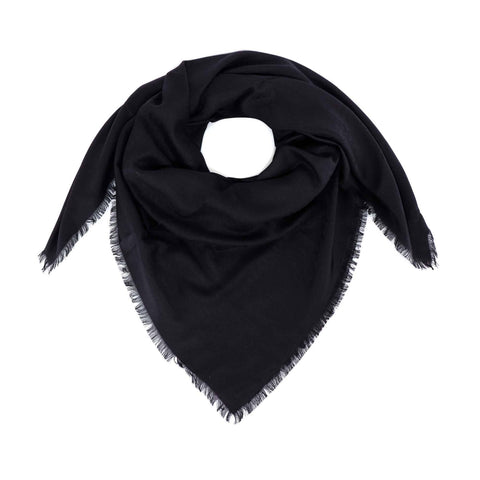 Saint Laurent Fringed Logo Jacquard Scarf