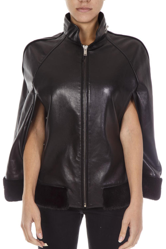 Saint Laurent Leather Mantle Jacket