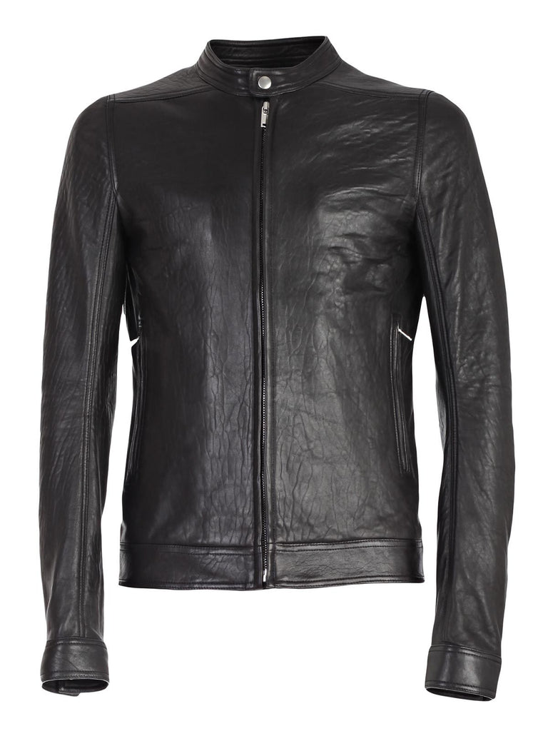 Rick Owens Stand Collar Leather Biker Jacket