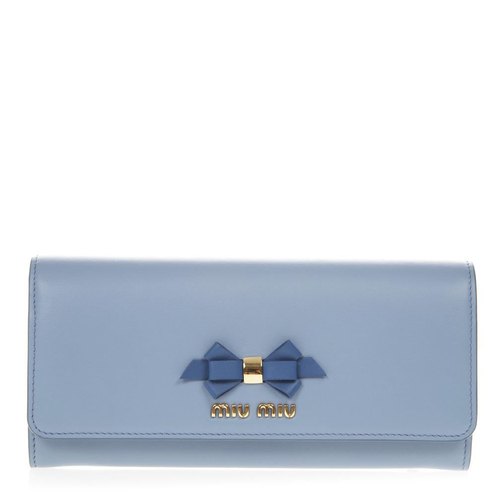 Miu Miu Madras Bow Detail Continental Wallet