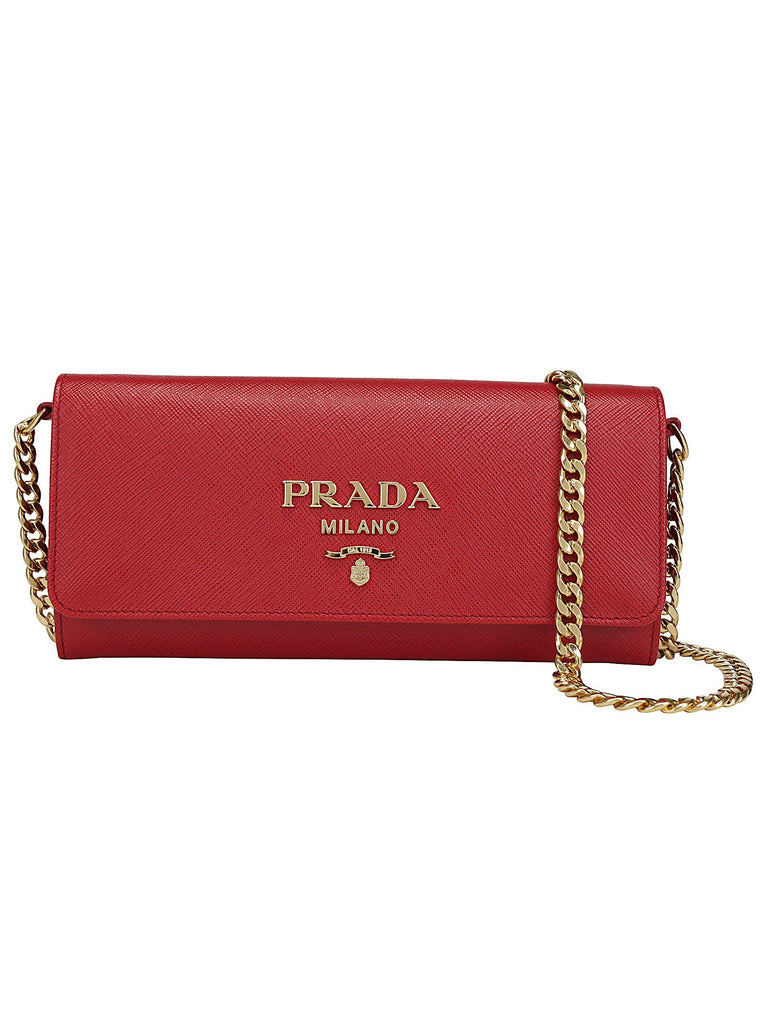 Prada Logo Chain Handle Clutch Bag