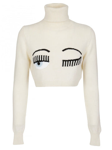 Chiara Ferragni Cropped Turtleneck Flirting Jumper